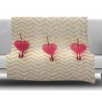 Heart with Chevrons by Robin Dickinson Fleece Blanket