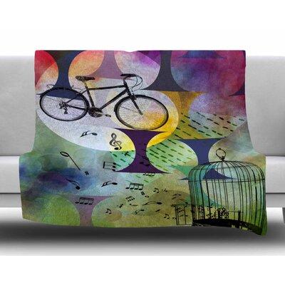 Bike to the Moon by AlyZen Moonshadow Fleece Blanket