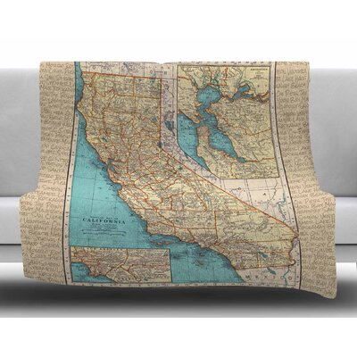 So Cal Surf Map by Catherine Holcombe Fleece Blanket