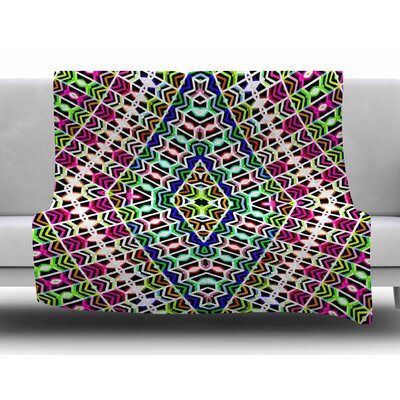 Colorful Tribal Pattern by Dawid Roc Fleece Blanket