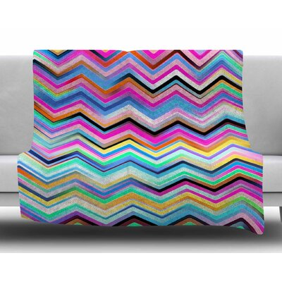 Colorful Rainbow Chevron by Dawid Roc Fleece Blanket