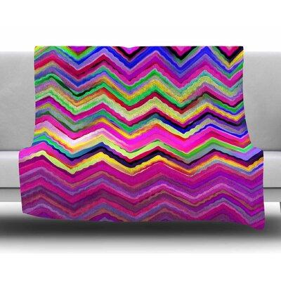 Colorful Chevron by Dawid Roc Fleece Blanket