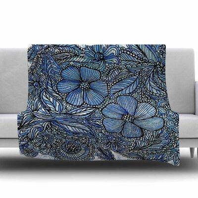 Blue Flowers in My Garden by Julia Grifol Fleece Blanket