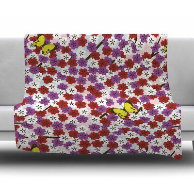 Cherry Blossom and Butterfly by Setsu Egawa Fleece Blanket