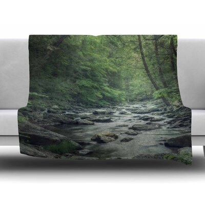 Misty Forest Stream by Suzanne Harford Fleece Blanket