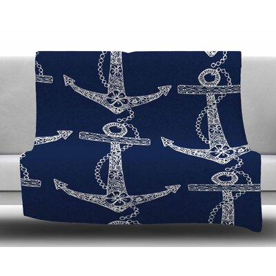 Floral Anchors by Amy Reber Fleece Blanket