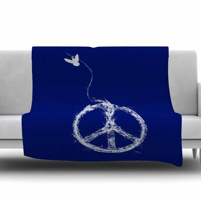 Bird Sewing Peace by Frederic Levy-Hadida Fleece Throw Blanket Size: 80 L x 60 W
