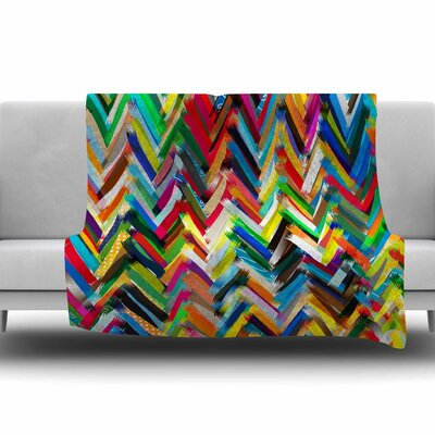 Chevrons by Frederic Levy-Hadida Fleece Throw Blanket Size: 40 L x 30 W