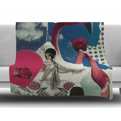 Flamingo Attack by Jina Ninjjaga Fleece Blanket
