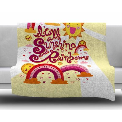 Its All Sunshine & Rainbows by Jane Smith Fleece Blanket