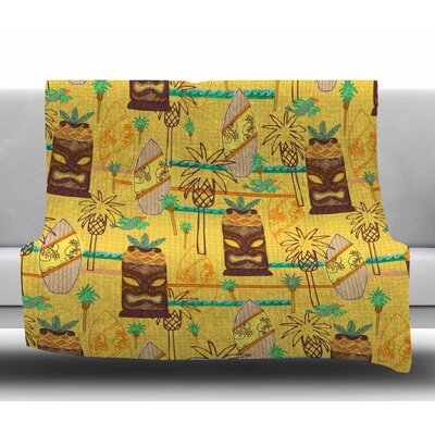 Surfing Tiki by Jane Smith Fleece Blanket