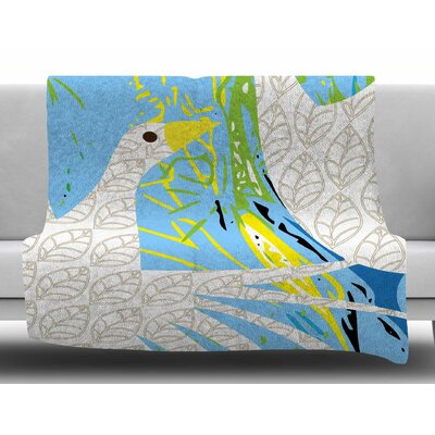Pond Birds by Patternmuse Fleece Blanket