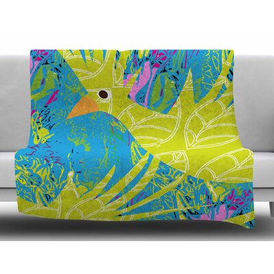 Tropical Fly-By by Patternmuse Fleece Blanket