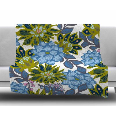Dahlias by Amy Reber Fleece Blanket