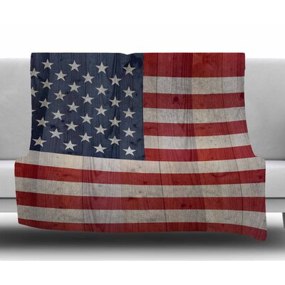 Usa Flag on Spruce by Bruce Stanfield Fleece Blanket