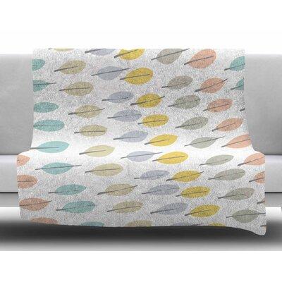Simple Leaves by Gukuuki Fleece Blanket