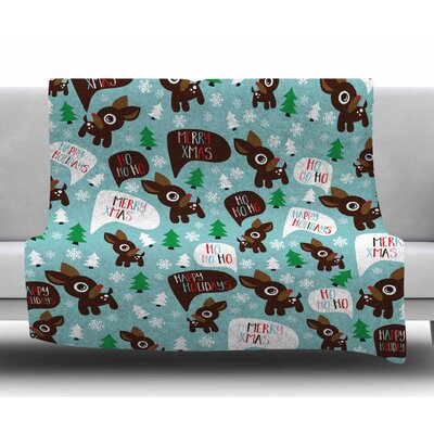 Cheerful Reindeer Fleece Blanket