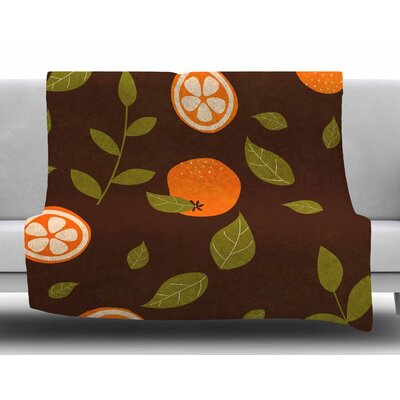 Orange Pattern by Strawberringo Fleece Blanket