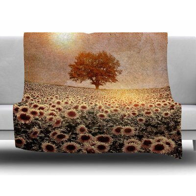 Lone Tree & Sunflowers Field by Viviana Gonzalez Fleece Blanket