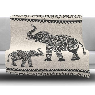Ornate Indian Elephant-Boho by Famenxt Fleece Blanket