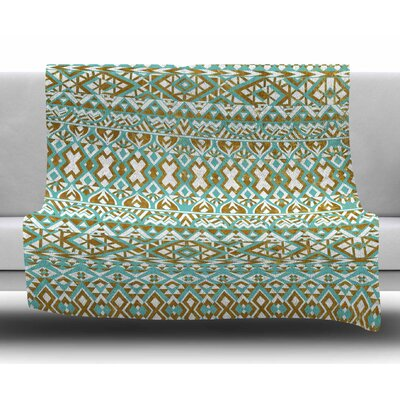 Mint & Gold Tribals by Pom Graphic Design Fleece Blanket