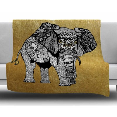 Golden Elephant by Pom Graphic Design Fleece Blanket