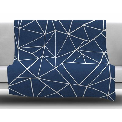 Abstraction Outline Navy by Project M Fleece Blanket
