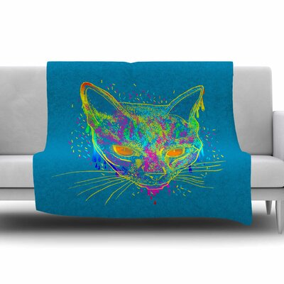 Candy Cat by Frederic Levy-Hadida Fleece Throw Blanket Size: 60 L x 50 W, Color: Blue