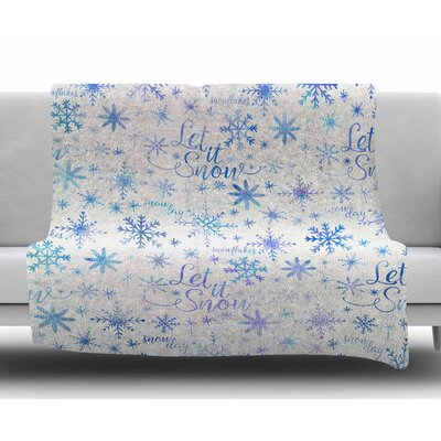 Let It Snow Winter Pattern by Noonday Design Fleece Blanket