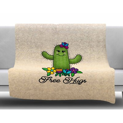 Free Hugs Cactus by Noonday Design Fleece Blanket