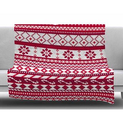 Red Fairisle Christmas Pattern by Noonday Design Fleece Blanket
