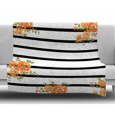 Orange Floral Stripes by NL Designs Fleece Blanket