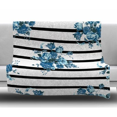 Floral Strips by NL Designs Fleece Blanket