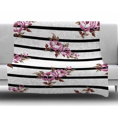 Floral Stripes by NL Designs Fleece Blanket