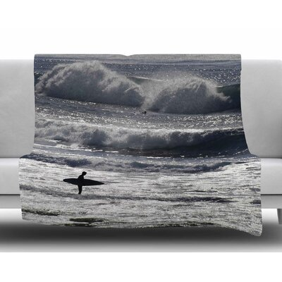 Lone Surfer by Nick Nareshni Fleece Blanket