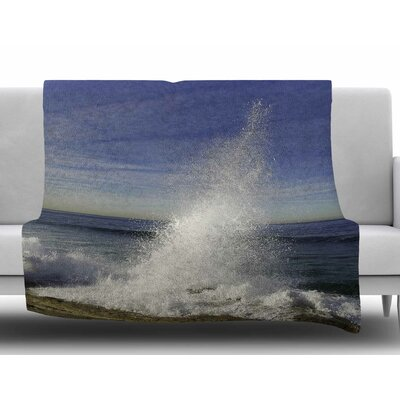 Hut with Crashing Waves by Nick Nareshni Fleece Blanket