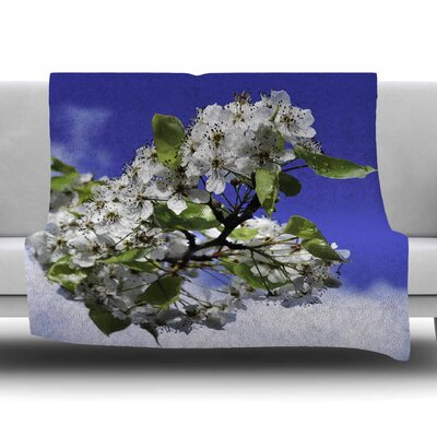 Cherry Blossoms And Blue Sky by Nick Nareshni Fleece Blanket