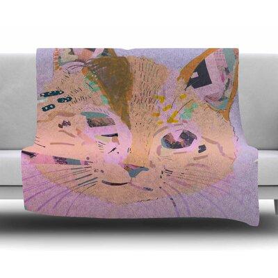Psychedelic Cat by Vasare Nar Fleece Blanket