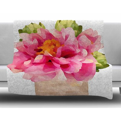 Peonies by Oriana Cordero Fleece Blanket
