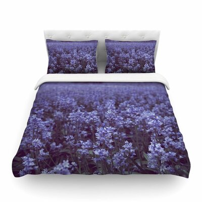 Bluebell Forest Purple Flowers by Ann Barnes Featherweight Duvet Cover Size: Twin