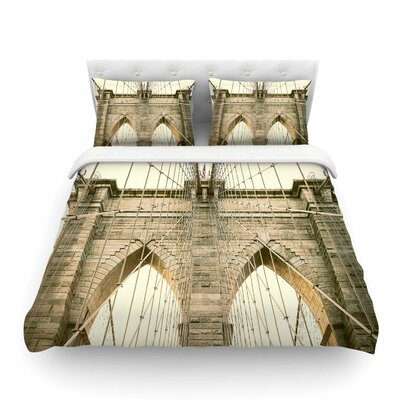 Brooklyn Bridge Sunset Gold Photography by Ann Barnes Featherweight Duvet Cover Size: Twin