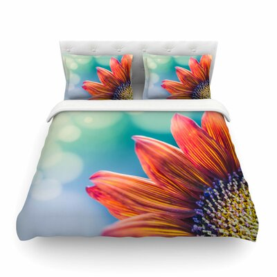 Fire and Ice Flower Red Teal Bokeh by Ann Barnes Featherweight Duvet Cover Size: King