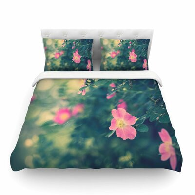 Central Park Roses Pink Nature by Ann Barnes Featherweight Duvet Cover Size: King