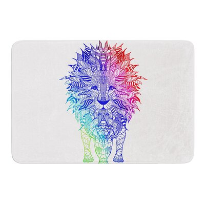Rainbow Lion by Monika Strigel Bath Mat