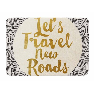 Lets Travel New Roads by Pom Graphic Design Bath Mat