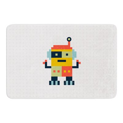 Happy Robot by Daisy Beatrice Bath Mat Size: 17W x 24L