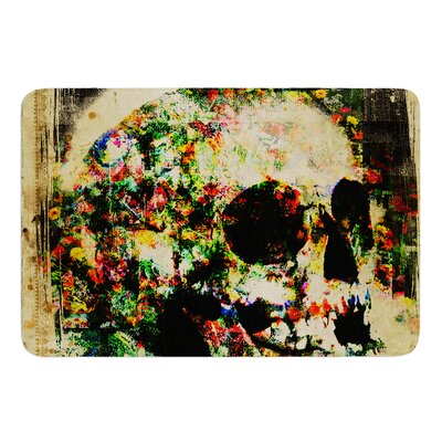 Floral Skully by Frederic Levy-Hadida Bath Mat Size: 24 W x 36 L