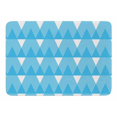 Cyan Triangles by Jackie Rose Bath Mat