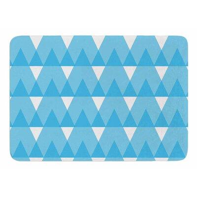 Cyan Triangles by Jackie Rose Bath Mat