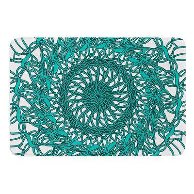 Mandala Spin Jade by Patternmuse Bath Mat Size: 17 W x 24 L